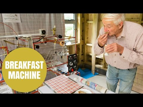Two British pensioners created a funny-looking yet effective breakfast machine!