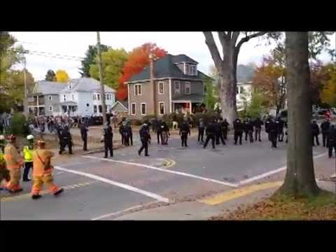 IN - Police dressed in riot gear deal with hordes of college-aged students on Winchester Street in Keene during the Pumpkin Festival on Saturday, Oct. 18, 2014. Video by Kaitlyn Coogan / Sentinel Staff.