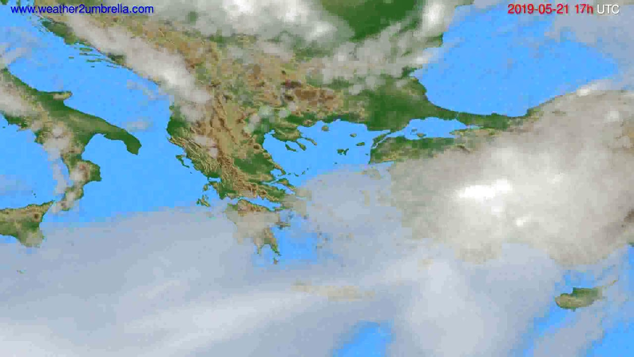 Cloud forecast Greece // modelrun: 12h UTC 2019-05-19