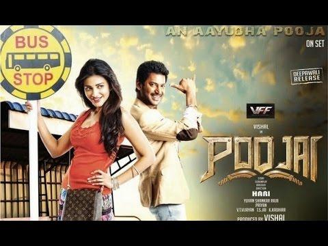 tn - Poojai is a 2014 Tamil masala film directed by Hari and produced by Vishal, who himself plays the lead role alongside an ensemble cast featuring Shruti Haasan, Sathyaraj, Raadhika Sarathkumar...