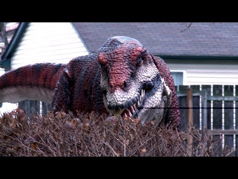 Jurassic Prank – Victims Are Scared by Man in Dinosaur Costume