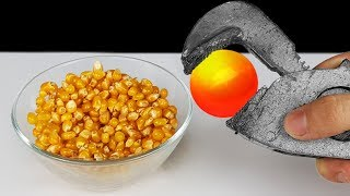 Video EXPERIMENT: Glowing 1000 Degree METAL BALL VS Popcorn MP3, 3GP, MP4, WEBM, AVI, FLV Januari 2019