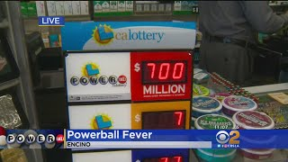 "The $700 million jackpot has people flocking to ""lucky retailers"" in the hopes of winning big. Jasmine Viel reports."