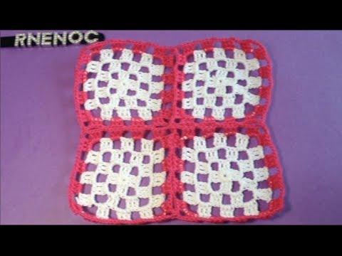 cuadritos a crochet - Unir cuadros granny en la última vuelta con el mismo tejido. Fácil y práctico.