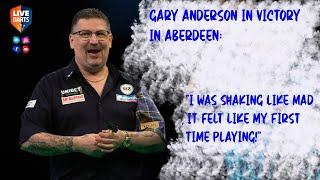 """Gary Anderson in victory in Aberdeen: """"I was shaking like mad, it felt like my first time playing!"""""""
