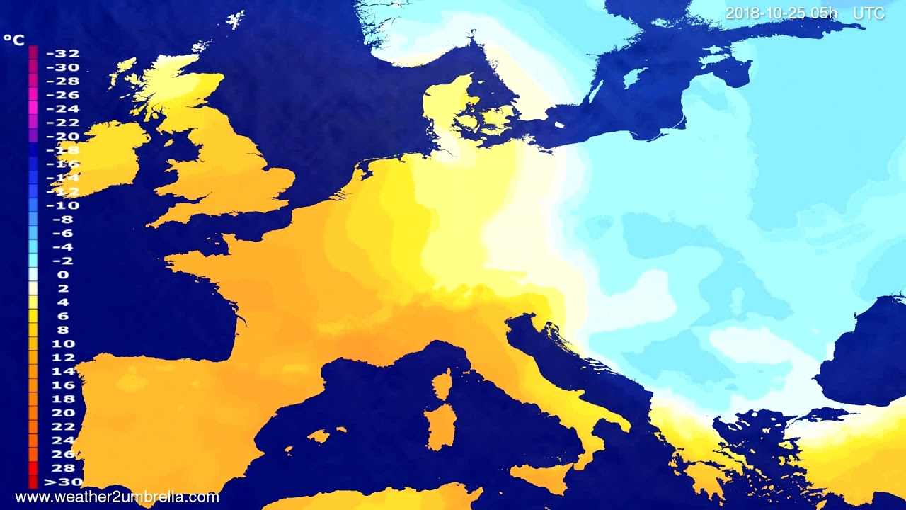 Temperature forecast Europe 2018-10-22