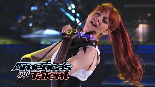 Lindsey Stirling Former AGT Act Performs Shatter Me With Lzzy Hale - Americas Got Talent 2014
