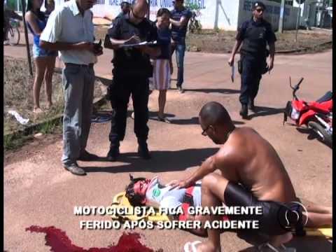 MOTOCICLISTA FICA GRAVEMENTE FERIDO APÓS SOFRER ACIDENTE EM PIMENTA BUENO