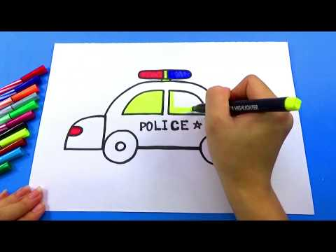 BÉ TẬP VẼ_Hướng dẫn bé vẽ xe cảnh sát đơn giản nhất_HOW TO DRAWING THE POLICE CAR