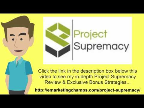[Project Supremacy Review] Honest Review & Bonus Strategies:  (Project Supremacy Review) See honest review of Project Supremacy, learn how it works & discover BONUS strategies: http://emarketingchamps.com/project-supremacy/------8 Great On-Page SEO Techniques That WorkIf you are just starting out with a blog, and you are not sure what search engine optimization actually means, it's very easy to implement once you understand what steps to take and read a good Project Supremacy Review article. There is a difference between on-page and off-page optimization when it comes to SEO. Off-page optimization refers to building links back to your individual pages. On-page refers to everything that you need to do on your website, specifically each page, and here are eight great on-page SEO techniques that really do work.First, you need to make sure that your page titles have the keyword that you are targeting with each page and having a good Project Supremacy bonus will also help with on-page conversions. Second, you need to add proper content keywords to your meta-descriptions, something that the search engine algorithms are going to look at when they are ranking each page. Third, meta-tags need to be added which will include your primary keyword for that page, and secondary keywords that are related in some way. Fourth, your URL structure needs to be search engine friendly, meaning the title of each page needs to be after the main URL, something that can be resolved on WordPress if you are able to change the Permalink structure. Fifth, you need to add what are called body tags, starting with H1 tags, going down to H4. H1 tags should be used when you are introducing your content, and then H2, H3 and H4 tags for the subheadlines as you go along. Sixth, make sure that your keyword density is never greater than 5%, and preferably around 2% for most types of content. For example, if you have a 500 word article, you would not want to use your keyword more than 5 to 10 times throughout the content, and it is recommended that it is only used 2 or 3 times in most cases. Finally, you need to add descriptions in the alt text of your images, and add internal linking to all of the pages on your website that relate. These final two steps are very important, and often overlooked, and can help you achieve top rankings fast.In summary, these eight techniques will definitely help your on-page ranking for every page that you use these on. Also, again pay attention to the different Project Supremacy Review sites you see and use only the best information. Once it is crawled by the search engine spiders, they will take all of this into account, and you could easily find yourself on page 1 of the search engine results for most of your longtail low competition keywords.Project Supremacy Review - See honest review of Project Supremacy, learn how it works & discover a unique Project Supremacy Bonus: http://www.ascendents.net/?v=WVCgkjNjbG0