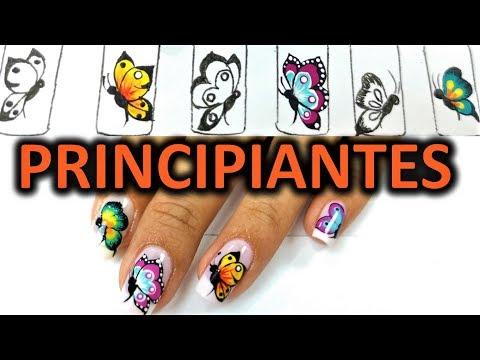 Videos de uñas - Dibujar facil mariposas en tus uñas - mariposa en uña paso a paso - Easy butterfly nail art tutorial
