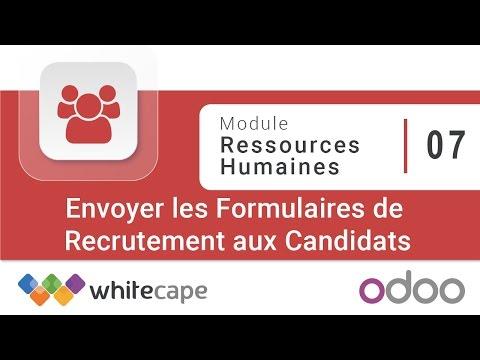 Odoo - Module Ressources Humaines - 07 - Envoyer les Formulaires de Recrutement aux Candidats