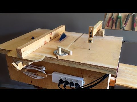 table jigsaw. homemade 4 in 1 workshop (table saw, router table, disc sander jigsaw table