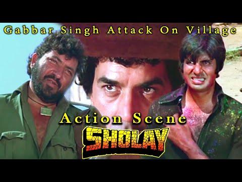 Gabbar Singh Attack On Village | Action Scene | Sholay Hindi Movie