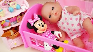Baby doll baby sitter Mini mouse and orbeez toys play