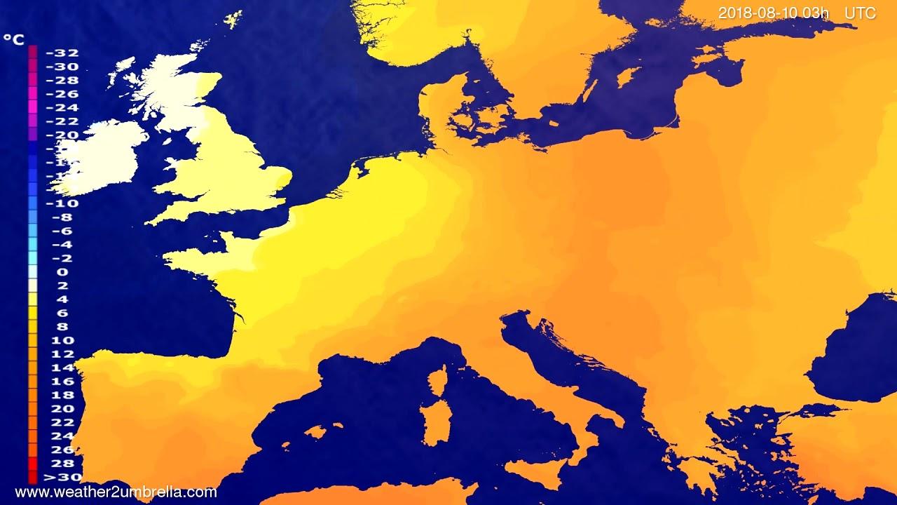 Temperature forecast Europe 2018-08-07