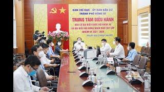 Đồng chí Nguyễn Xuân Ký, Chủ tịch Ủy ban bầu cử tỉnh kiểm tra công tác bầu cử tại thành phố Uông Bí