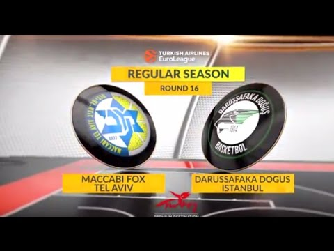 EuroLeague Highlights RS Round 16: Maccabi FOX Tel Aviv 93-92 Darussafaka Dogus Istanbul