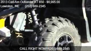 1. 2013 Can-Am Outlander XT 650  for sale in Lewiston, ME 04240