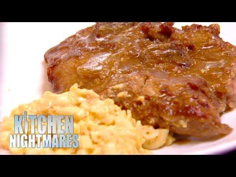Gordon Served Dry Pork Chop & Mushy Mac & Cheese   Kitchen Nightmares