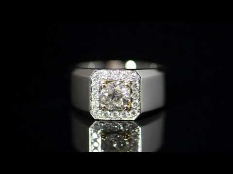 Men's 14k White Gold 1ct Diamond Ring