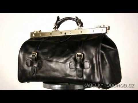Exklusivní rámová kožená kabelka - černá