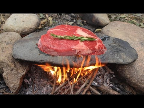 Primitive Survival: Cooking Meat On A Rock