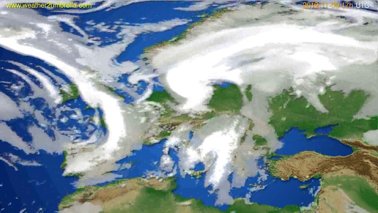 Cloud forecast Europe // modelrun: 00h UTC 2019-11-08
