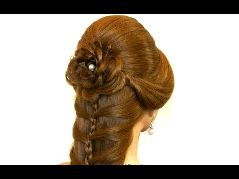 Cute prom braided hairstyles for long hair. Hair made rose.