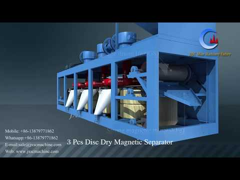 high intensity dry process 3pcs disc magnetic separator for tin refining plant