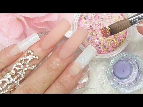 Videos de uñas - UÑAS acrílicas DISEÑO  Elegante ROSE con mi NUEVA  mezcla y cristales DE GOTA