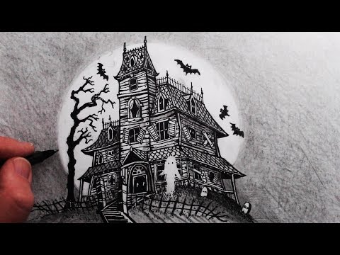 How to Draw a Haunted House: Step by Step