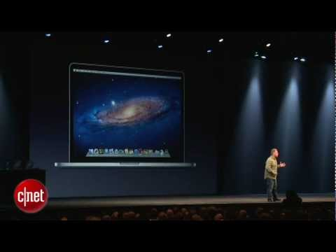 WWDC 2012cnet tv - http://goo.gl/1H4wg Apple's Phil Schiller shows off the company's new ultra thin and light MacBook Pro at WWDC 2012 in San Francisco. The new laptop is 0.71 ...