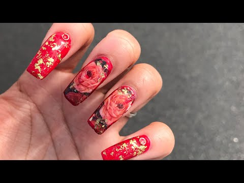 RED FLORAL & GOLD FOIL ACRYLIC NAILS AT HOME  SELF TAUGHT