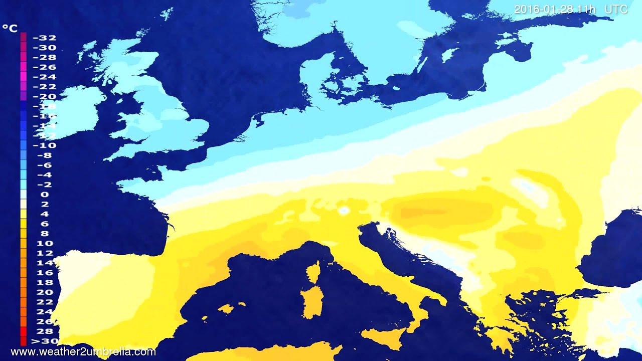 Temperature forecast Europe 2016-01-25