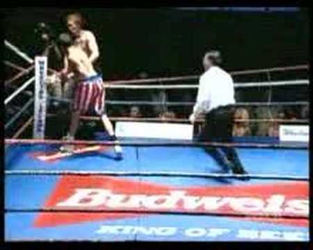 Boxer jumps over the rope