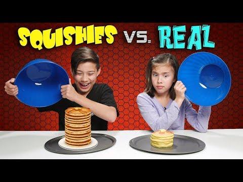 SQUISHY FOOD VS. REAL FOOD CHALLENGE!!! Attack of the JUMBO Squishies!
