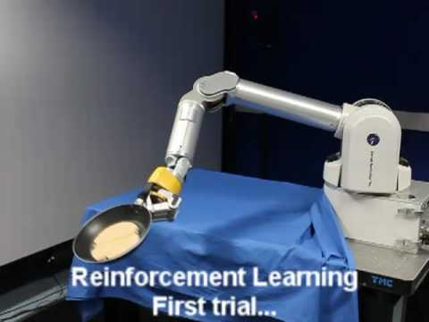Robot learning to flip pancakes by reinforcement learning. The motion is encoded in a mixture of basis force fields through an extension of Dynamic Movement Primitives (DMP).
