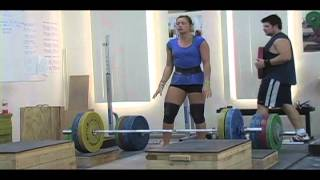 Weightlifting training footage of Catalyst weightlifters. Jessica block clean pull + block clean, Audra clean pull, Tamara 3-position clean, Brian no touch clean dead lift to knee on riser + no touch clean pull on riser, Patrick pause back squat, Blake front squat. - Weight lifting, Olympic, weightlifting, strength, conditioning, fitness, exercise, crossfit - Catalyst Athletics Videos