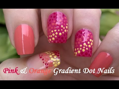 pink & orange gradient dotting tool nail art