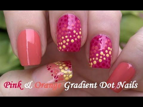 pink & orange gradient dotting tool nail art