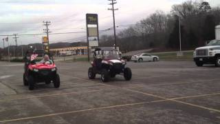 2. 2012 Polaris RZR 570 drag race against 2011 Polaris RZR S 800