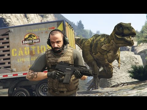 GTA 5 Mods - JURASSIC WORLD w/ T-REX ATTACK MOD!! GTA 5 T-Rex Mod Gameplay! (GTA 5 Mods Gameplay) (видео)
