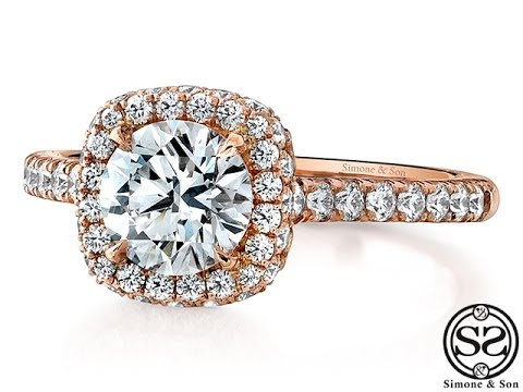 The Bloom: Custom Rose Gold Halo Engagement Ring