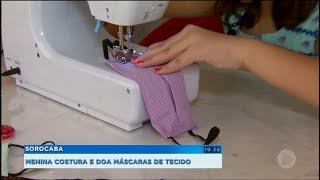 Menina de 10 anos costura e doa máscaras de tecido