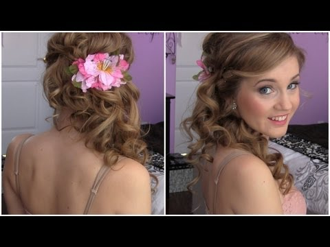 Side Swept Cascading Curls – Easy DIY prom hair tutorial!
