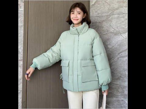Зимняя новая короткая куртка с большим карманом и воротником стойкой, женска… видео
