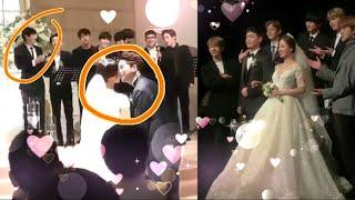 Park Chanyeol cute reaction at Yoora kissing 💞her husband Exo Singing at Yoorawedding #EXO Chanyeol