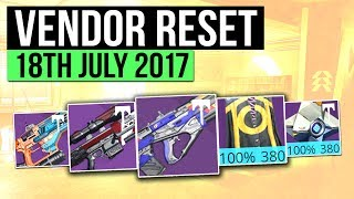 Destiny: Age of Triumph - Weekly Vendor Reset for 18th July 2017. Lets check out the best vendor weapon & Armor rolls available for this weeks reset in Destiny (Age of Triumph)▻WEAPON ARCHETYPES IN DESTINY 2 https://www.youtube.com/watch?v=suRvJHkp8_M▻Use code 'Houndish' for 10% off KontrolFreek Productshttp://www.kontrolfreek.com?a_aid=Houndish▻SAVE 5% ON DESTINY 2 PC PRE-ORDERhttps://uk.gamesplanet.com/game/destiny-2-battlenet-key--3314-1?ref=hound▻SUBSCRIBE for more destiny videoshttps://www.youtube.com/subscription_center?add_user=Houndishgiggle1910▻Say Hi on Twitterhttps://twitter.com/xHOUNDISHx- If you enjoy my content, consider checking out my Patreon page. You can support the channel and earn awesome rewards. I appreciate you all regardless :) https://www.patreon.com/Houndish- Music: Lensko - Circles & Veorra - Home