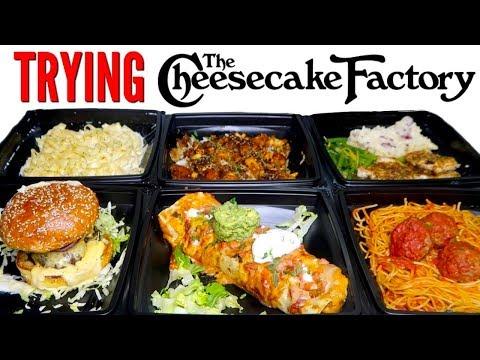 TRYING CHEESECAKE FACTORY DINNERS! - Mac N' Cheese Burger, Burrito, & MORE Restaurant Taste Test!